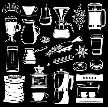 Vector coffee grinder and Turkish cezve maker, cinnamon and anise flavoring, milk pitcher and coffee beans with donut and cookie desserts for coffeeshop design. Beverage vector icons