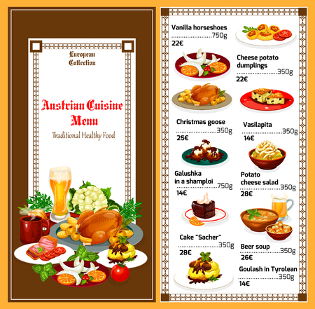 Austrian cuisine food menu. Vector breakfast or lunch of vanilla horseshoes, cheese potato dumpling or Christmas goose and galushka in shamploi, vasilapita and sacher cake with beer soup Illustration