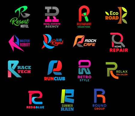 Letter R icons business identity of sport club, vegan food restaurant or robot technology and rock cafe. Vector R symbols for spa salon or home repair shop and eco road travel or real estate agency