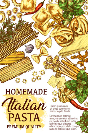 Italian pasta, homemade cooking cuisine with ingredients and spices. Vector sketch lasagna, farfalle or fettuccine and linguine with spaghetti, penne or chili pepper and garlic with rosemary