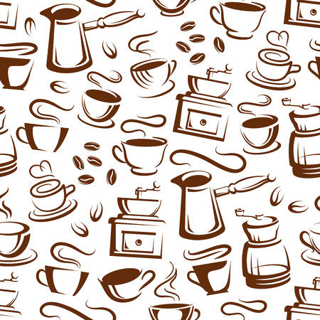 Coffee seamless pattern of cups with steam and coffee makers. Vector background of americano, espresso or latte and cappuccino mug, for coffeeshop of cafe interior design