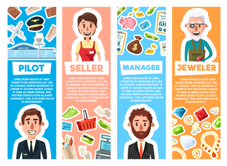 Business manager, aviation pilot, jeweler and seller professions. Vector cartoon peope with professional work items, airplane or credit card money and of jewelry gemstones Standard-Bild - 110368722