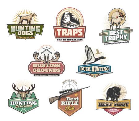 Club de chasseurs, chasse à l'air libre et icônes du centre de formation. Symboles vectoriels isolés d'animaux sauvages comme le wapiti, le bois de cerf ou le sanglier et le canard avec fusil de chasse et pièges pour trophée