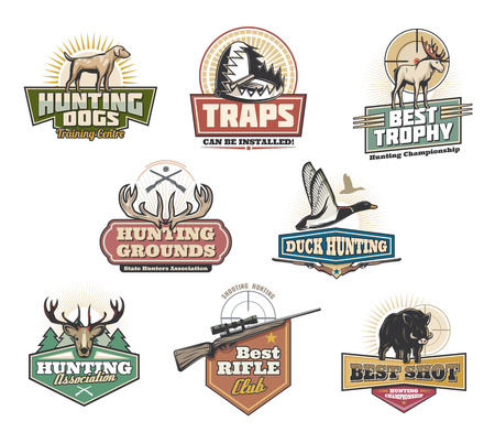 Hunter club, jacht open seizoen en trainingscentrum iconen. Vector geïsoleerde symbolen van wilde dieren als elanden, gewei of zwijnenvarken en eend met jagersgeweer en vallen voor trofee