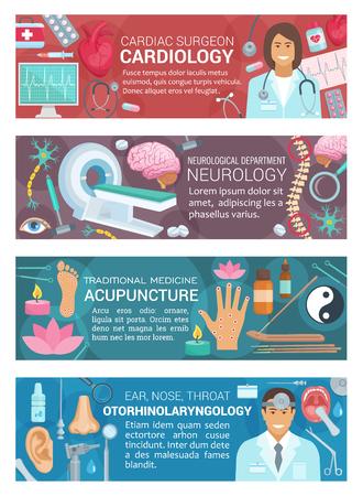 Cardiology, otorhinolaryngology, neurology diagnostic clinic and acupuncture alternative medicine. Vector otolaryngologist, cardiologist and neurologist doctors, human organs, therapy surgery medicine Ilustracja