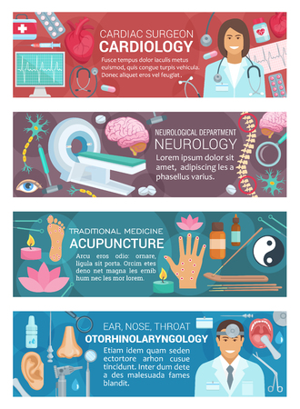 Cardiology, otorhinolaryngology, neurology diagnostic clinic and acupuncture alternative medicine. Vector otolaryngologist, cardiologist and neurologist doctors, human organs, therapy surgery medicine Illustration