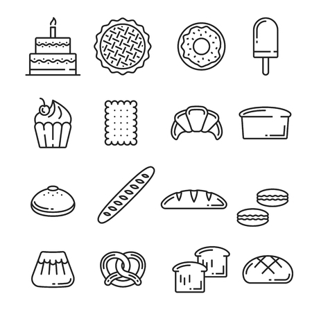 Bread and pastry cakes lineart icons of bakery or patisserie. Vector birthday torte, fruit pie or donut and ice cream with cupcake or baguette or wheat toast and rye loaf, pretzel and croissant