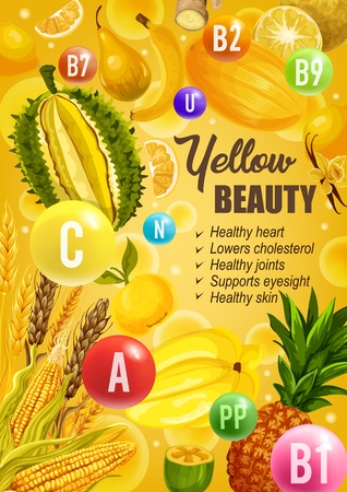 Yellow diet for beauty and healthy skin, heart or joints and eyesight support. Vector color diet nutrition of yellow citrus fruits, vegetables and cereals with vitamins and minerals