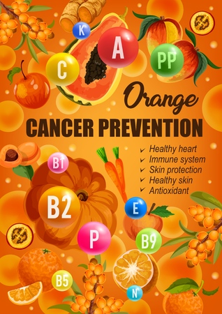 Orange color diet for cancer prevention, healthy hear and skin or immune system protection. Vector diet nutrition of orange antioxidant citrus fruits, vegetables, berries with vitamins and minerals Imagens - 110426746