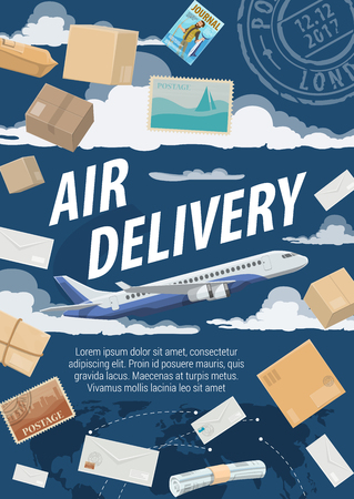 Air mail delivery, postage logistics. Vector airplane cargo shipping parcel boxes with newspapers, magazine journals and letter envelopes. Sky with post stamp and world map