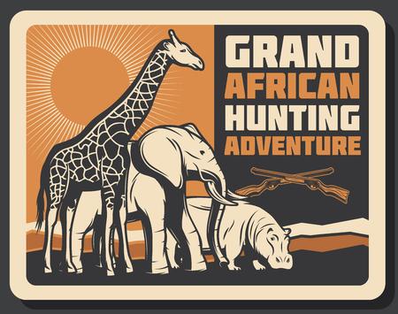 African hunting club or Safari hunt adventure. Vector Africa wild animals giraffe, elephant and hippopotamus in savanna with hunter crossed rifle gun. Open season trophy theme Illusztráció
