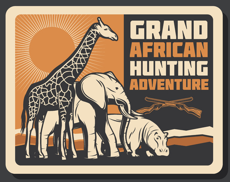 African hunting club or Safari hunt adventure. Vector Africa wild animals giraffe, elephant and hippopotamus in savanna with hunter crossed rifle gun. Open season trophy theme Illustration