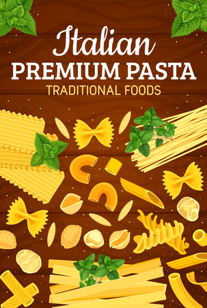 Italian pasta in traditional Italy food and premium restaurant menu. Vector spaghetti, ravioli or penne and tortellini, gnocchi or ditalini and rotelle maccheroni with basil spice