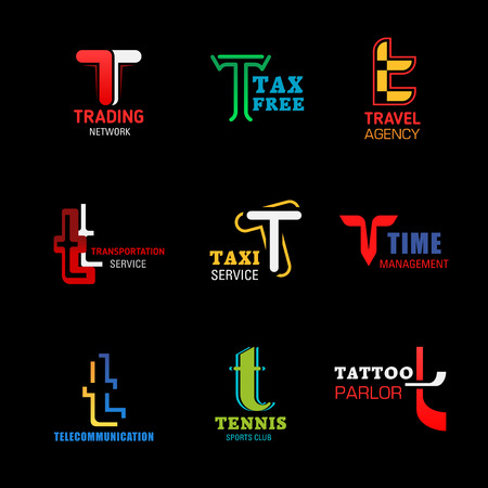 Letter T icons composition for business identity, vector. T symbols of trade network, tax free shop or travel agency, taxi transportation service or management and telecommunication, tennis sport club