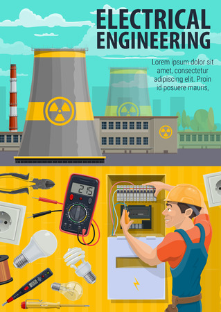 Electrician engineer at work, electricity professional equipment. Vector electrician, nuclear power plant, ammeter and lightbulb lamp with plug socket or electric wire Illustration