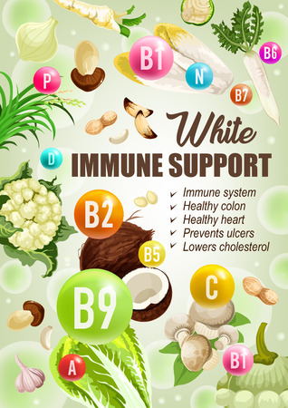 White color diet for immune support, healthy colon or heart for ulcers prevention. Vector low cholesterol diet nutrition of white vegetables, salads or nuts and mushrooms with vitamins and minerals