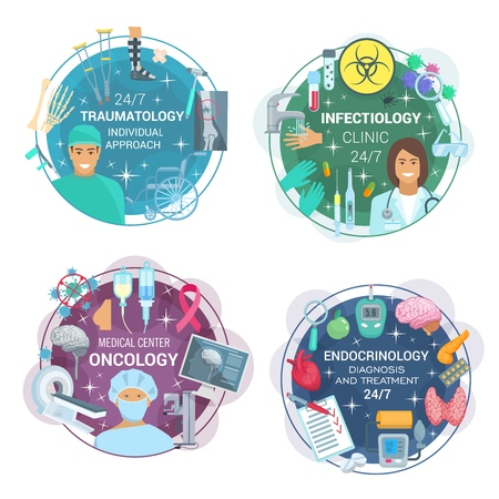 Traumatology, infectology, oncology and endocrinology medicine. Vector traumatologist, infectious disease, oncologist and endocrinologist doctors,human organs, diagnostics and treatment Illustration