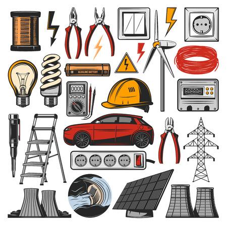 Apparecchiature elettriche e icone degli strumenti dell'elettricista. Centrale elettrica vettoriale, auto elettrica o lampadina e amperometro con voltmetro, batteria a energia solare o commutatore di lampade e presa elettrica