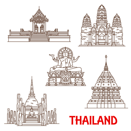 Thailand famous historic architecture and Buddhist shrine temples. Vector thin line facades of Samui Wat Khunaram, Big Buddha statue, Phra That Doi Suthep in Chiang Mai and Mahathat in Ayutthaya