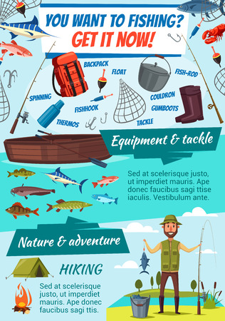 Fishing sport adventure, fish catch. Vector fisherman, equipment rod, tackles and lures with boat and camping tent, sea and ocean salmon, carp and pike, marlin and perch, seafood crab and lobster