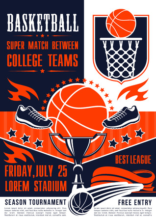 Basketball league tournament and sport club team match poster. Vector basketball ball in net goal, player and sneakers. Victory cup game contest