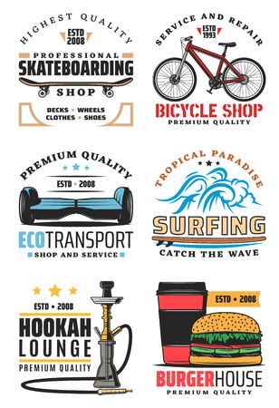 Bicycle and skateboarding or hoverboard sport and repair shop. Summer surfing sport club, fast food burger house cafe and hookah lounge bar, eco transport vector icons