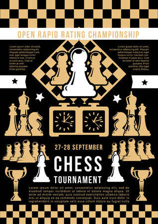 Chess tournament announcement, open game. Vector chess pieces king, queen or rook with knight, bishop, clock and pawn on chessboard. Sport game championship