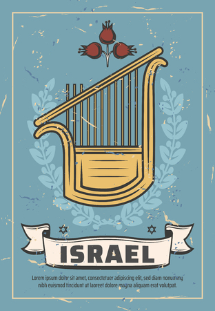 Israel poster of Jewish harp traditional musical instrument. Vector vintage laurel wreath and flower, Israel travel or Judaism religious community