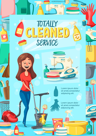 Home cleaning service. Vector cartoon woman mopping a floor, washing, laundry and kitchen utensil with vacuum cleaner or sponge and detergent soap