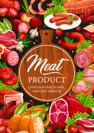 Meat delicatessen and sausages, butcher shop or grocery. Vector beef jamon, curry wurst or cervelat and pepperoni sausage with pork bacon or brisket and spice ingredients