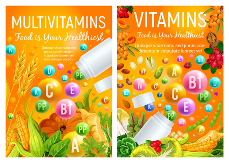 Vitamin pills in healthy food of fruits, organic vegetables and natural nuts or cereals and berries. Vector multivitamin pharmaceutical complex, diet and healthy nutrition theme