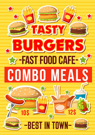 Fast food hamburgers restaurant menu, fastfood combo meals and snacks. Vector cheeseburger and burgers sandwich with hot dog sausage, Asian noodles and fries, Mexican burrito and coffee or soda