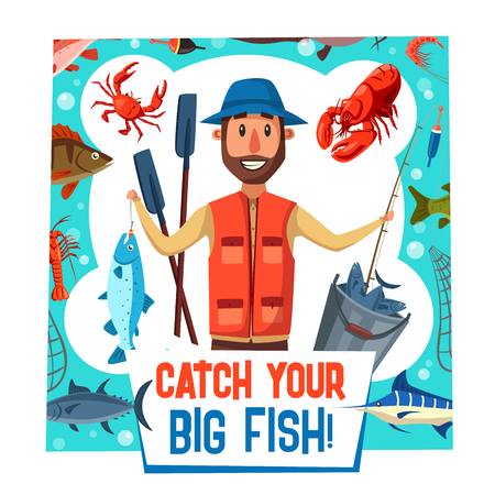Fishing sport and leisure poster with fisherman and big fish catch. Vector cartoon fisher with tackles, rod or bobber and net with tuna, pie or lobster and salmon on hook Stock Illustratie