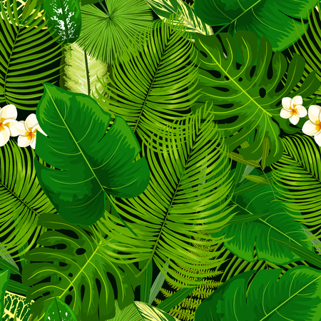 Tropical leaf and flowers seamless pattern. Vector background of green exotic plumeria blossom, banana palm, areca or monstera leaves and fern plant, cyperus or bamboo foliage Ilustração