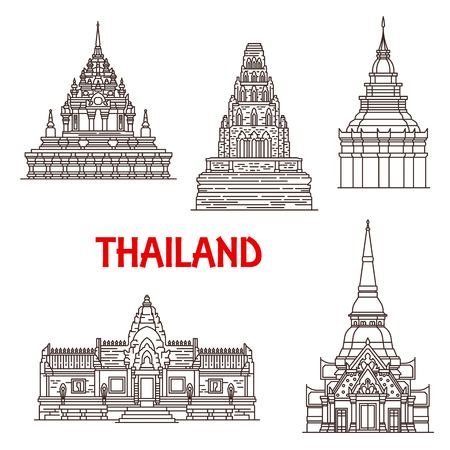 Thailand famous historic Buddhist landmark temples. Vector Wat Phra Borommathat in Ayutthaya, Prasat Phanom Rung in Buriram, Chama Thewi and golden Pagoda and Hua Hin Khao Takiab