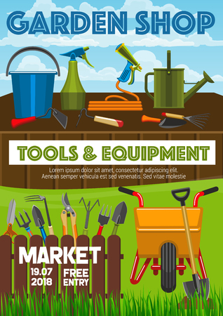 Garden shop poster, farming and gardening tools market announcement. Vector gardener wheelbarrow, pruners, spade and rake and watering can. Garden cultivation or planting agriculture Illustration