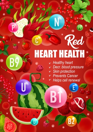 Red diet for heart health, cancer prevention or healthy skin and blood pressure or cells renewal. Vector color diet nutrition of red fruits, vegetables and berries with vitamins and minerals