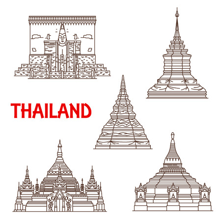 Thailand Buddhist landmarks vector icons. Temples facades of Wat Phra That Chomthong in Phayao, Chedi Luang in Chiang Mai, Si Chum in Sukhotai province and Doi Khum with Chong Kham Illustration