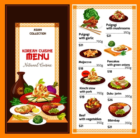 Korean cuisine traditional food menu. Vector Asian dishes of bulgogi with garlic, mushrooms or pork stew kimchi and green onion pancakes, dubu-jorim with bibimbap and beef vegetables