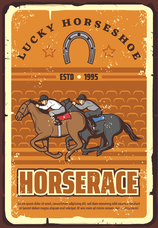 Equestrian sport club, racetrack announcement retro vector. Vintage design of jokeyson horses racing on hippodrome with lucky horseshoe symbol Ilustrace