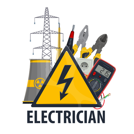 Electrician professional equipment and tools, vector nuclear power plant, ammeter and lightbulb lamp with plug socket, electric wire and cables, power line Vettoriali
