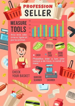 Seller profession in supermarket, shop or grocery store. Vector cartoon saleswoman, barcode scanner or cashbox and shopping basket with money, credit card and food products