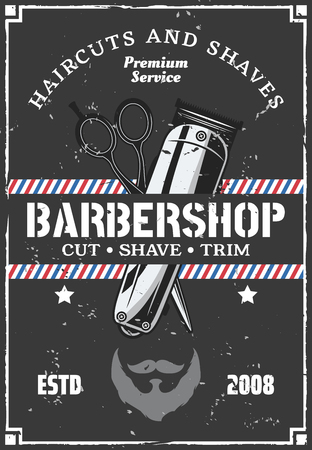 Barbershop salon advertisement retro poster with grunge effect. Vector vintage design of trimmer and scissors for haircut and beard or mustache shave premium barber shop