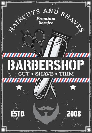 Manifesto retrò della pubblicità del salone da barbiere con effetto grunge. Design vintage vettoriale di trimmer e forbici per taglio di capelli e barba o baffi barbiere premium