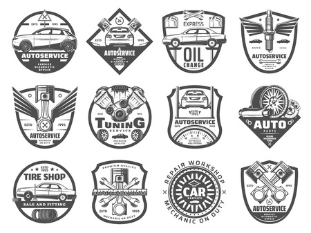 Autoservice and vehicle repair station vector icons. Mechanic garage signs of engine restoration, oil change or tire fitting and pumping or mufflers and brake pads replacement