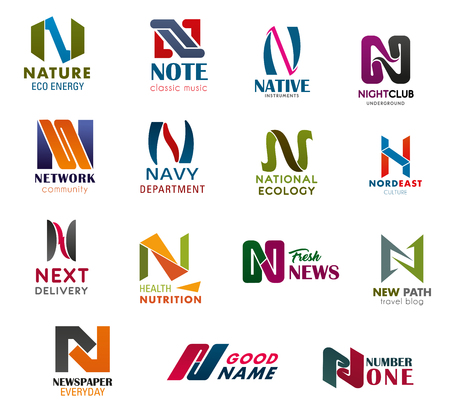 Letter N business identity vector icons. Nature, note or night club, network or navy, national newspaper news, nutrition industry and ecology or business company technology