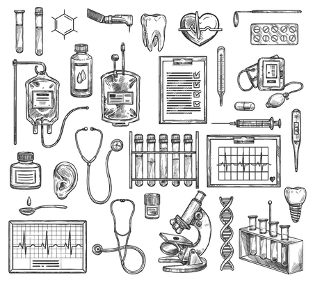 Chirurgia medica, attrezzature mediche per terapia ospedaliera. Schizzo vettoriale di cardiologia, cardiogramma, otoscopio otorinolaringoiatrico, microscopio e DNA, contenitore di sangue, impianto dentale di odontoiatria con siringa