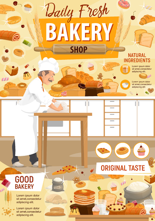 Baker in bakery cooking bread and pastry sweet products. Chef kneading dough on table with pancakes, donuts or sugar and flour in bag, chocolate muffin and marmalade