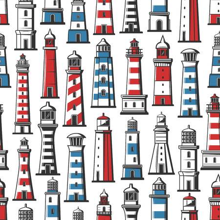 Retro seamless pattern of lighthouse ans beacon. Vector background of nautical beacon or seafarer navigator lighthouse with red and blue marine pattern. Safety sailing and ship voyage adventure theme Ilustração