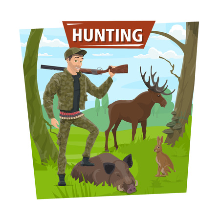 Hunting poster. Hunter man with wild animals trophy and rifle gun. Vector hunt open season, forest elk antlers, aper hog or boar and rabbit or hare